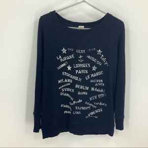 J.Crew factory navy blue Graphic sweater